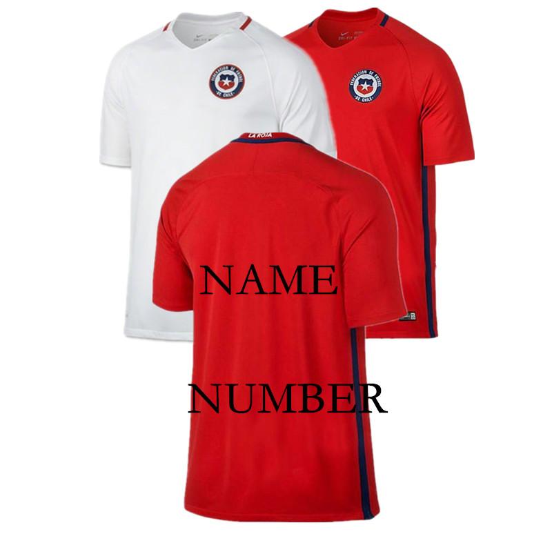 Hot ! Free shipping 2016/17 soccer jerseys Chile football shirt Home & Away MEDEL A.VIDAL free custom made ET-4223(China (Mainland))