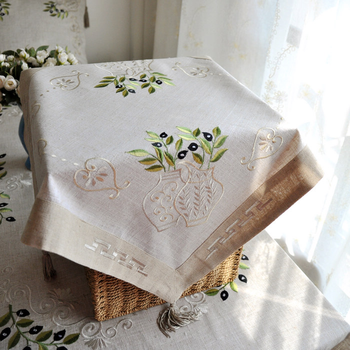 Greece Olive Branch Embroidery Linen Table cloth 55x55cm SQ(China (Mainland))