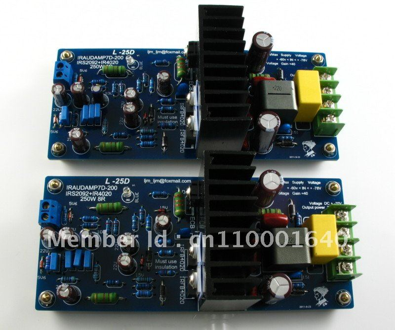 LJM- Hi-end  L25D  Stero Audio Power amplifier board  IRS2092 IRFB4020PBF 250W 8ohm (Assembled Amp board,include 2 bobards)<br><br>Aliexpress