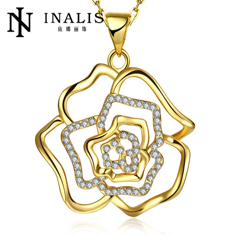 18K/Rose Gold/Platinum Plated Elegant Rhinestone Hollow Out Rose Pendant Necklaces Women Chain Necklace(China (Mainland))