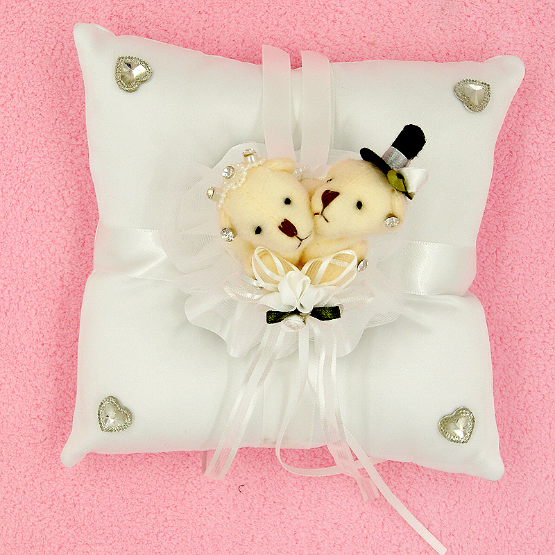 2015 New Arrival Unique Fashion Bride & Groom Teddy Bear Cushion, Wedding Pillow square Ring Pillow Decoration wedding supplies(China (Mainland))