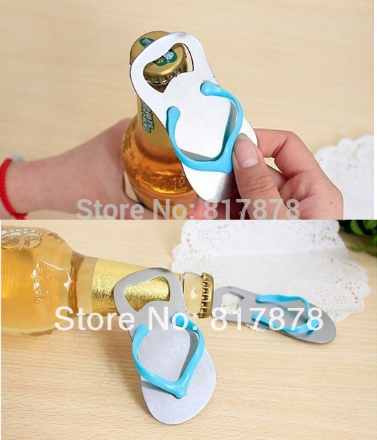 20Pcs Stainless steel 'Pop the Top' flip flop bottle opener wedding favors gift package Free Shipping se121(China (Mainland))