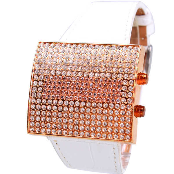 Hk Brand GUOU Genuine Leather Square full high grade diamond Luxury Woman watches factory direct LED Wristwatches Free Shipping