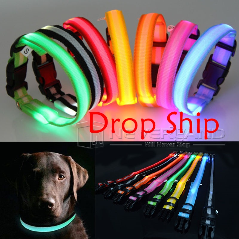 Glow LED Dog Pet Cat Flashing Light Up Nylon Collar Night Safety Collars Supplies Products 8 Color S M L Free&Drop shipping C05(China (Mainland))