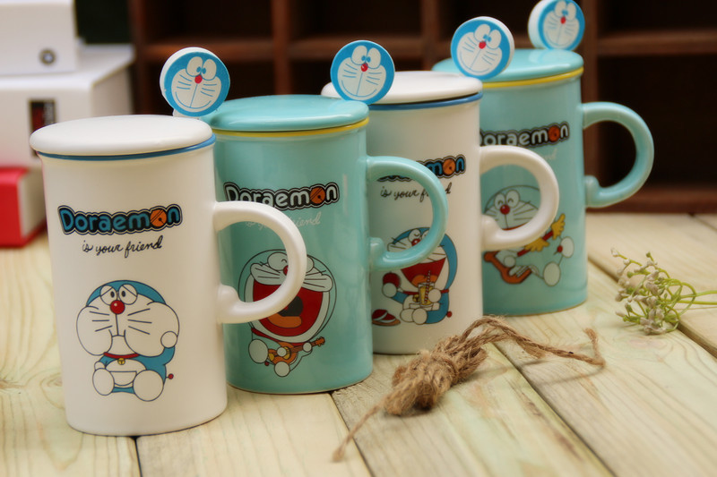 Creative Kawaii Cartoon Novelty Fashion Doraemon Mug Cute Summer Cool Drink Milk Coffe Juice Water Cup Spoon Business Gift BW065(China (Mainland))