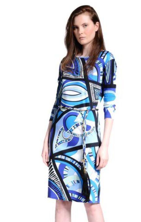 new 2014 italian luxury brands womens blue geometry print