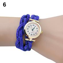 Popular Girl's Shiny Crystal Band Knitted Bracelet Watches Dial Quartz Analog Wrap Wristwatch NO181 5VAI W2E8D