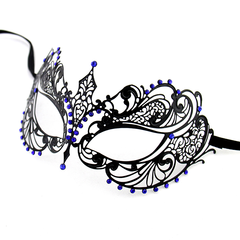 Free Shipping Blue Rhinestones Decor Metal Mask (1 Pc/Lot) Luxury Venetian Masquerade Mask 10013 Venetian Princess Mask(China (Mainland))