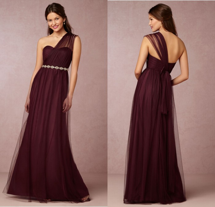Elegant appliques dress one shoulder cheap burgundy for Reasonable dresses to wear to a wedding