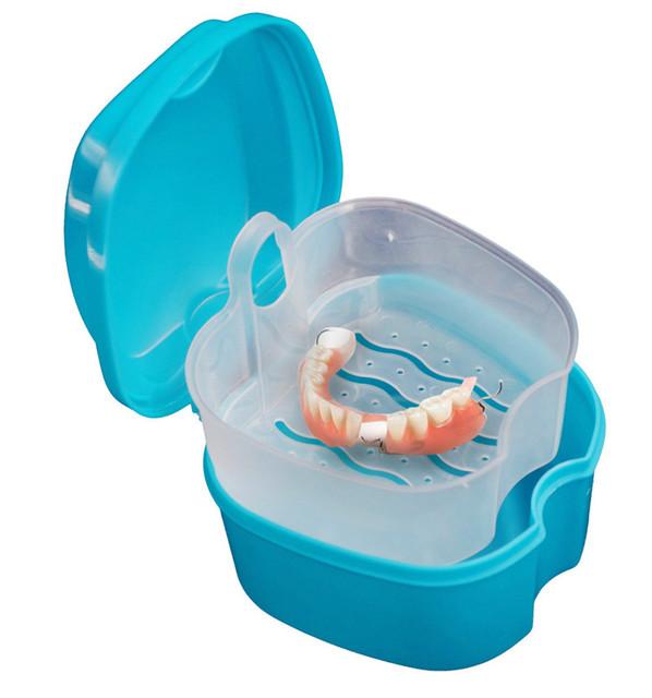 Качество Протез Ванна Поле Случае Стоматологические Вставные Зубы Коробка Для Хранения с Висит Сетка Контейнер Синий Пластиковый искусственный зуб набор держатель
