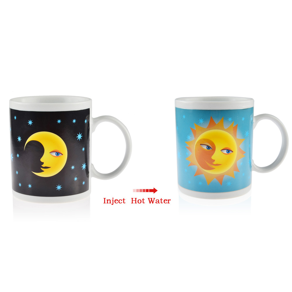 Magic Heat Sensitive From Moon to Sun Color Changing Mug Ceramic Coffee Tea Cup Best Valentine's day Present(China (Mainland))