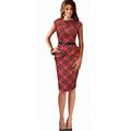 2016 Summer Fashion Women Elegant Round Neck Sleeveless 50s Red Plaid Dresses Slim Lady Party Scottish
