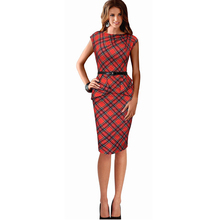 2016 Summer Fashion Women Elegant Round Neck Sleeveless 50s Red Plaid Dresses Slim Lady Party Scottish Tartan Pencil Dress