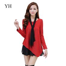women winter dresses 2016 long sleeve elegant patchwork womens autumn dress plus size women clothing fashion o-neck red dress(China (Mainland))
