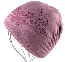 الشتاء السيدات قبعات متماسكة للنساء قبعة صغيرة زهرة الماس قبعة العلامة التجارية Touca محبوك كاب بالاكلافا قبعات بونيه القبعات(China)