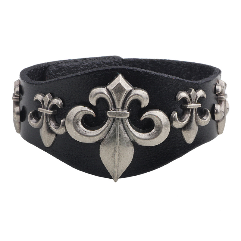 High Quality Jewelry Wristband Flower Pattern Leatherette Bangle Great Gift Bracelets for Men & Women Accessories pulseiras(China (Mainland))