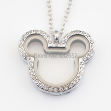 10pcs/lot, New arrive High polished magnetic floating  lockets, cute Mickey lockets with stones FN0040(China (Mainland))