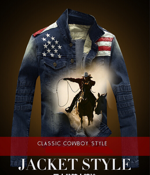 fashion 2015 new american flag suit jacket PU leather patchwork distressed antique mens denim jean jacket free shipping(China (Mainland))