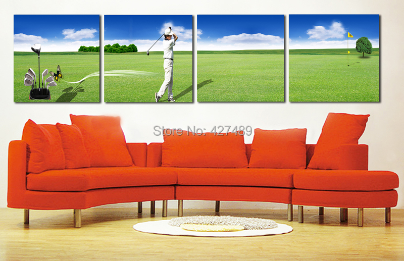 4 Panel modern wall art home decoration frameless oil painting canvas prints pictures P697 man playing golf landscape paintings - Ann Taylor's Store store