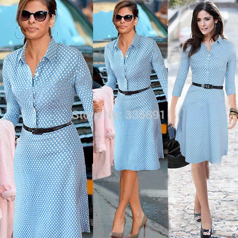 European style Plus size 2016 womens fall fashion dress long sleeve blue polka dot kate middleton dresses alibaba express dress(China (Mainland))