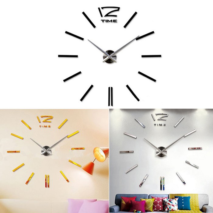 Scolour Hot SaleLuxury DIY 3D Wall Clock Home Decor Bell Cool Mirror Stickers Watch Free Shopping & Wholesales(China (Mainland))