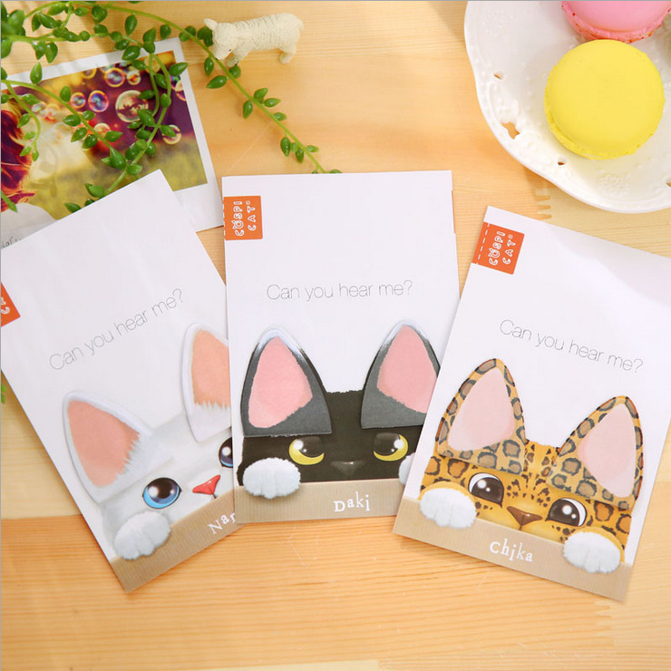 Kawaii Lovely Cat's Ear Diary Stickers Post it Kawaii Planner Memo Scrapbooking Sticker Stationery 2016 New School Supplies(China (Mainland))