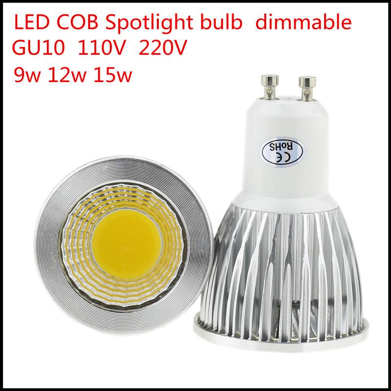 1X New High Lumen GU10 9W 12W 15W LED COB spotlight lamp bulb 110V 220V AC LED lighting Warm/Cool white free shipping(China (Mainland))