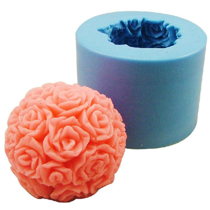 Fast Delivery 3D Round Rose / Flower Ball Fondant Cake Decoration Mould 3D Food Grade Silicone Chocolate Soap Candle Mold(China (Mainland))