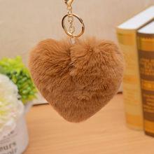 ZOEBER Chaveiro coração Chaveiro Pompom Fofo ouro Saco de Carro Bola de Pêlo de Coelho Pompom Pom Pom do Anel Chave Chaveiros Jóias as mulheres do sexo feminino(China)