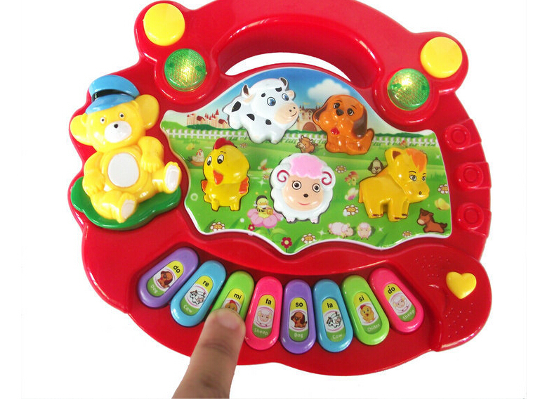 Free Shipping 8831-1 Baby Kid's Popular Animal Farm Piano Music Toy Electrical Keyboard Developmental Piano Toy Learning Machine(China (Mainland))