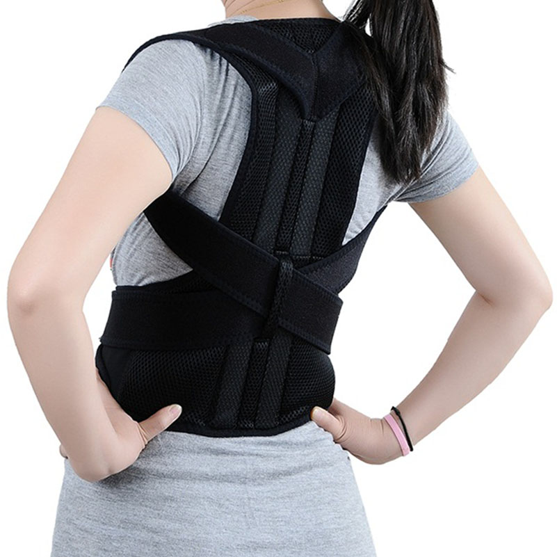Unisex Adjustable Back Posture Corrector Brace Back Shoulder Support Belt Posture Correction Belt for Men Women Black S-XXL(China (Mainland))