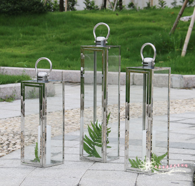 A new simple thickening classic European style stainless steel lantern Beach Club Hotel courtyard special candlestick(China (Mainland))