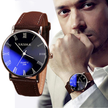 Feitong 2 Colors Luxury Brand Faux Leather Blue Ray Glass Men Watches 2015 Quartz Analog Wristwatch Watch Free Shipping FT7