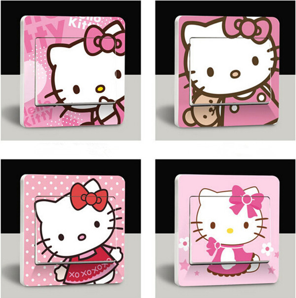Free Shipping 4 pieces/ lot Cute Hello Kitty Switch Stickers Cute Cartoon Wall Switch Stickers for Kids Room Home Decoration(China (Mainland))