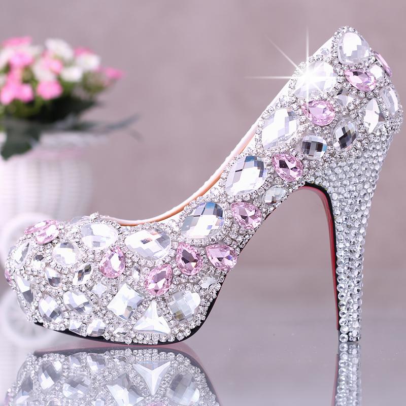 Tenis Feminino Rushed Closed Toe Medium(b,m) Adhesive Party 2015 New Fashion Shoes Crystal Diamond Women Pumps High Heels Bottom(China (Mainland))
