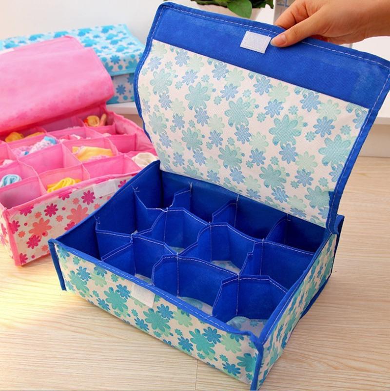 16 Cell Folding Storage Container For Socks Bras Underwear Ties Drawer Closet Divider Organizer Box(China (Mainland))