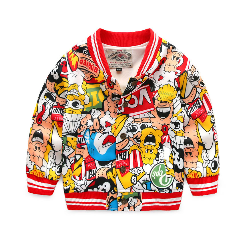 Cartoon Printed Children Jackets 2016 Fashion New Spring Costume Boys Cardigan 2-8 Years Kids Clothes Girls Outerwear Coat(China (Mainland))