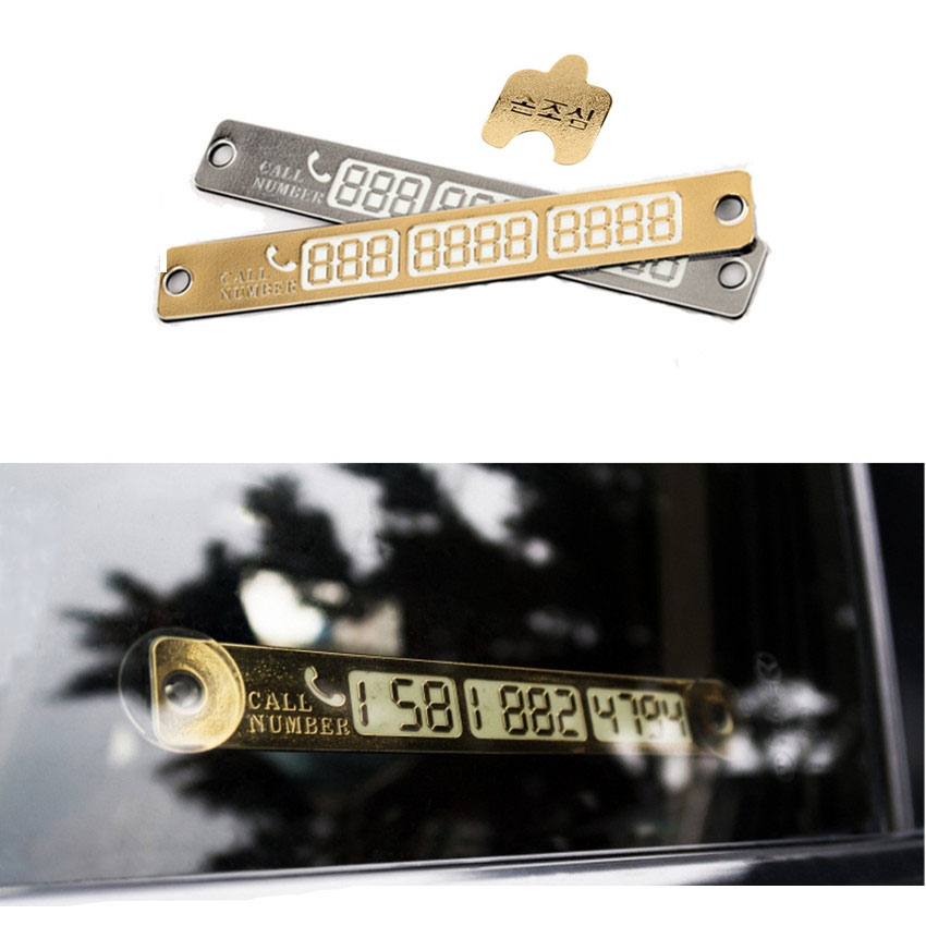 15*2cm Silver Gold auto Car Temporary Telephone Number Parking Card Notification Night Luminous Sucker Plate Phone Number Card(China (Mainland))