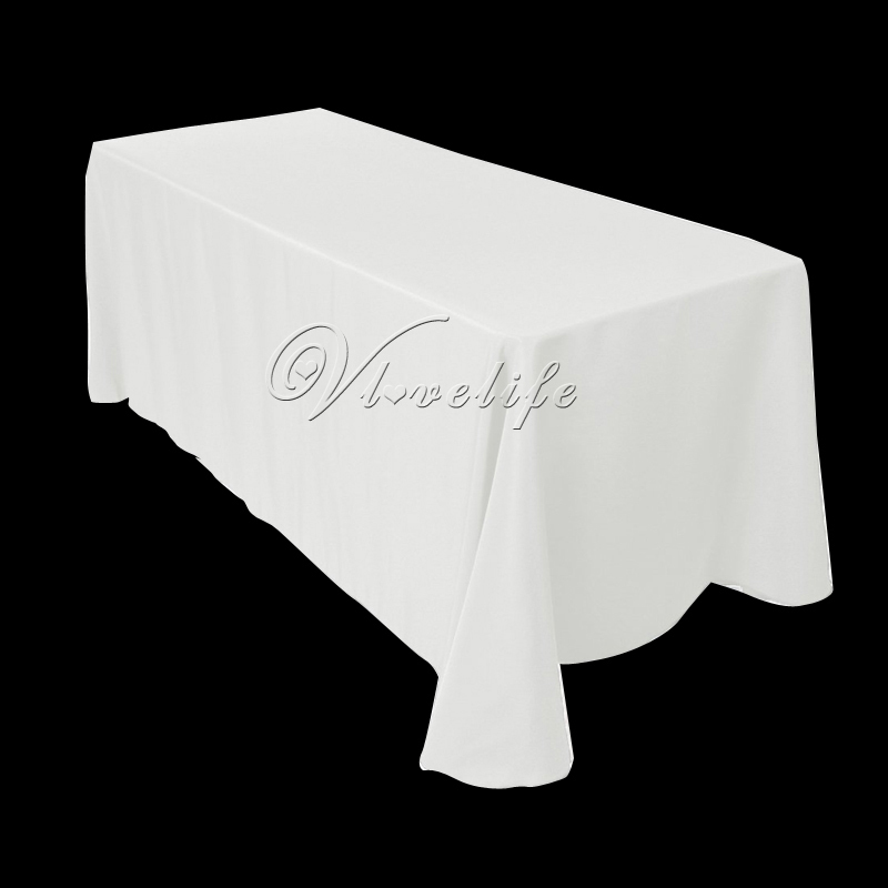 """100% Spun Polyester White Tablecloth 70"""" x 144"""" Rectangle Heavy Weight Polyester Top Quality Wedding Party Banquet Tablecover(China (Mainland))"""