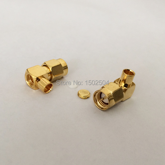 SMA male plug  RF Coax Connector  Solder  Cable  RG402,141  Right Angle Goldplated  NEW wholesale<br><br>Aliexpress