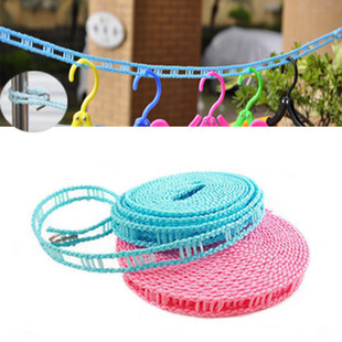 Fence wind clothesline non-slip clothes line rope with a hook rope ladder structure Lightweight Portable Clothesline 3M #78101(China (Mainland))