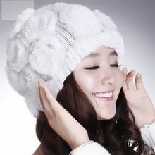 New Style Genuine Knitted Rex Rabbit Fur Hat Natural Rabbit Stripe Fur Caps Fashion Women Beanie Headgear Various Colors(China (Mainland))