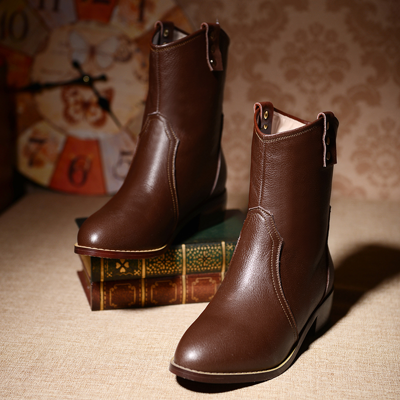 2015 boots genuine leather low heels handmade snow