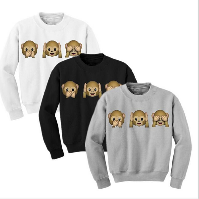 Monkey Patterns Women Sweatshirt Autumn Hoodies Long Sleeve O-Neck 3D emoji printed Clothing Fleece Hoodie Size M-XL - Tranquil garden store