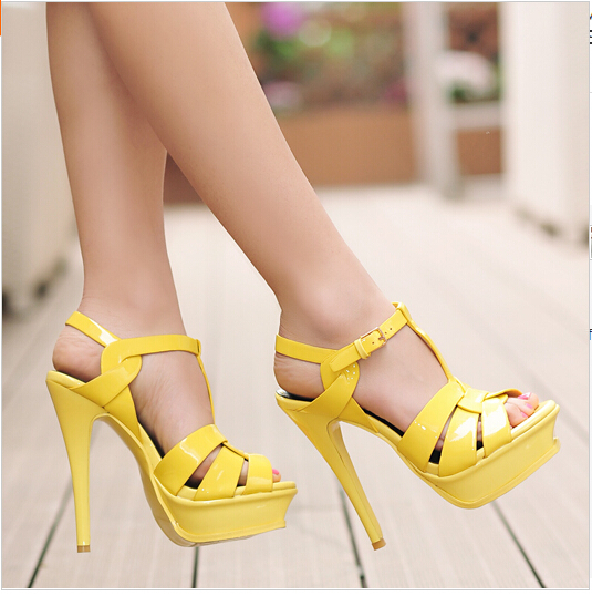 Online Buy Wholesale women yellow sandal high heel from China