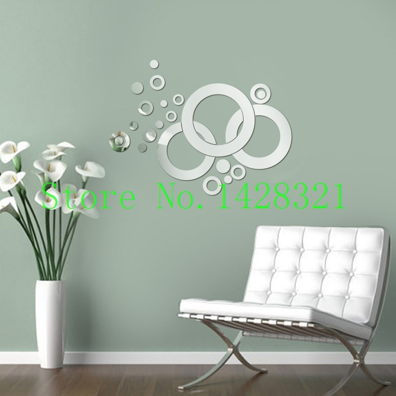 Free shipping 65x50cm (26x20in) 22 wheel and ring 3D geometric wall mirror stickers living room sofa background decoration(China (Mainland))
