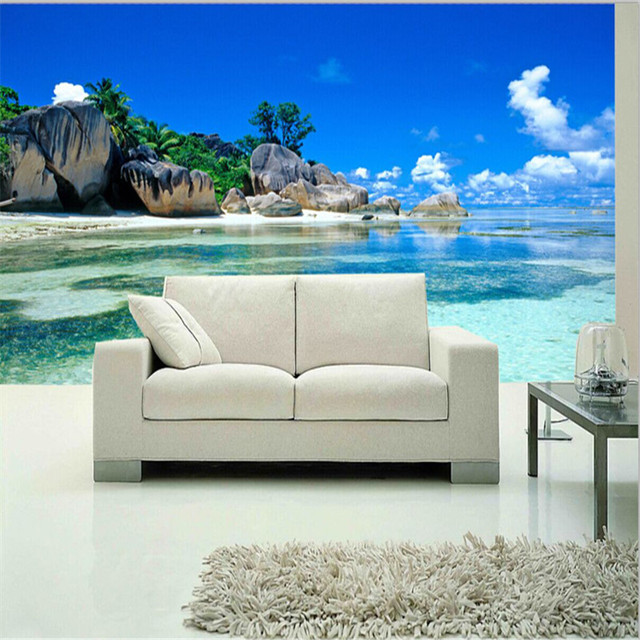 Paradise ocean sea beach custom mural wallpaper free for Custom mural wallpaper