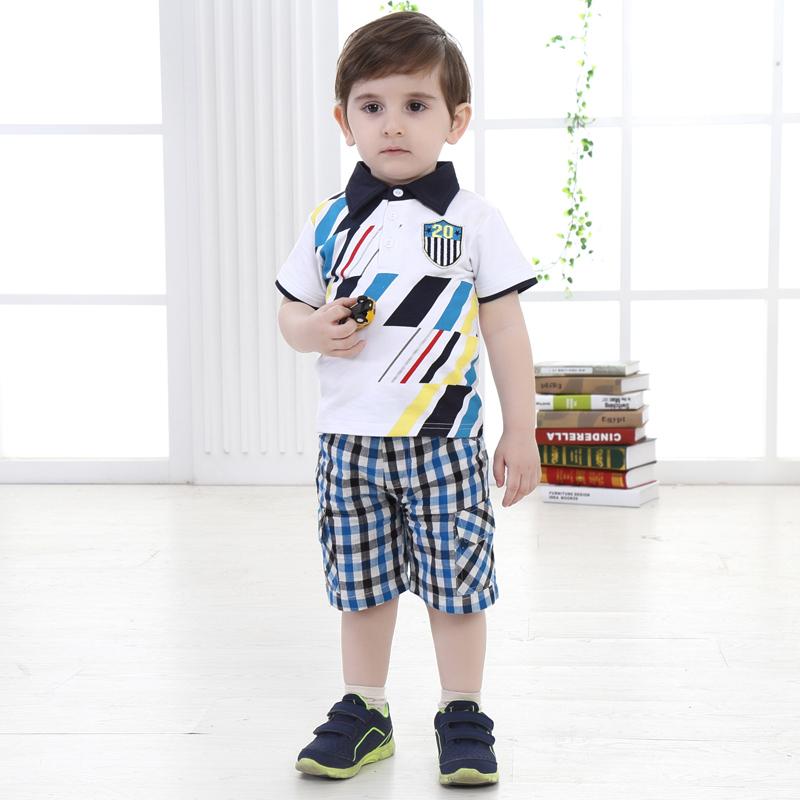 Top Quality Summer Boy Clothing Sets Short-sleeve T-shirt +Plaid Shorts 2pcs Cotton Child Clothes<br><br>Aliexpress