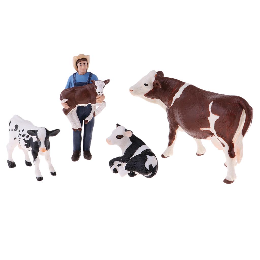 Educational Farm Animal Figures Playset with Farmer & 4 Cows, Educational Learning Toys for Kids Boys Girls