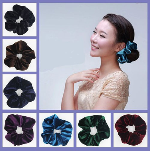 1 pc/lot Free Shipping High-end Large Velvet Hair Scrunchies elastic Spring Hair Bands Ponytail Holder(China (Mainland))